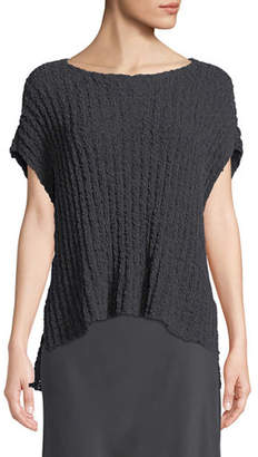Eileen Fisher Rail-Knit Short-Sleeve Sweater