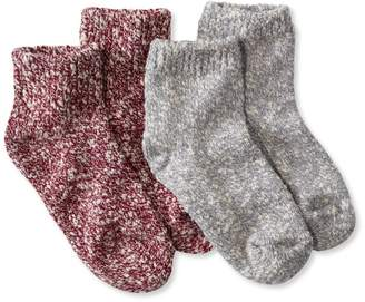 L.L. Bean L.L.Bean Kids' Cotton Ragg Socks, Two-Pack Quarter-Crew