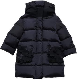 Il Gufo Hooded Nylon Down Coat W/ Flowers