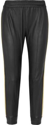 SPRWMN - Striped Stretch-leather Track Pants - Black