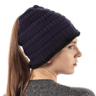 2359aa287fe at Amazon Canada · Fly London HAWK Women Knit Warm Liner Beanie Hat Messy  High Ponytail Warm Skull Cap