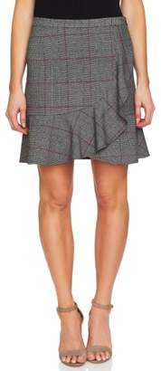 CeCe Ruffled Menswear Plaid Skirt