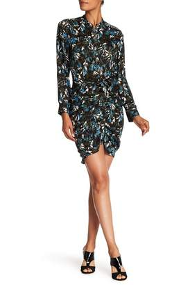 Veronica Beard Georgina Long Sleeve Print Silk Dress