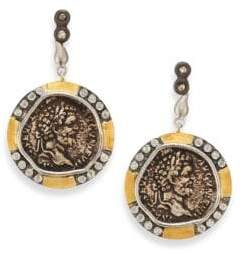 Coomi Silver Coin Diamond, 20K Yellow Gold& Sterling Silver Drop Earrings