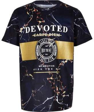 River Island Boys navy marble foil print T-shirt