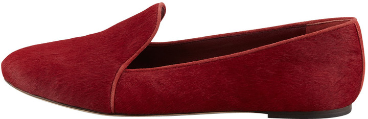 Brian Atwood Claudelle Calf Hair Smoking Slipper, Red