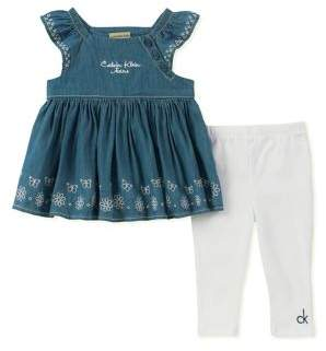 Calvin Klein Jeans Baby Girl's Two-Piece Embroidered Denim Dress and Pants Set