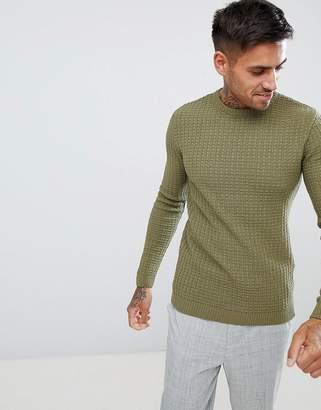 Asos Design DESIGN muscle fit textured crew neck sweater in khaki