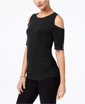 Thalia Sodi Ruched Cold-Shoulder Top, Created for Macy's