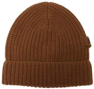 Prada - Logo Embellished Ribbed Knit Cashmere Beanie Hat - Mens - Brown Multi