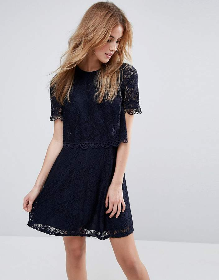 Asos ASOS Skater Dress in Lace with Crop Top Layer