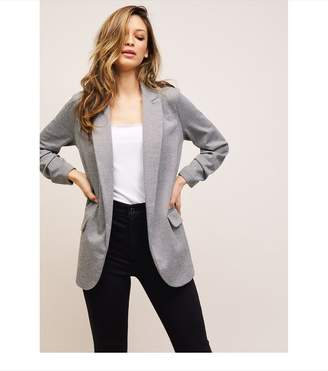 Dynamite Taylor Fitted Boyfriend Blazer Cream Grey
