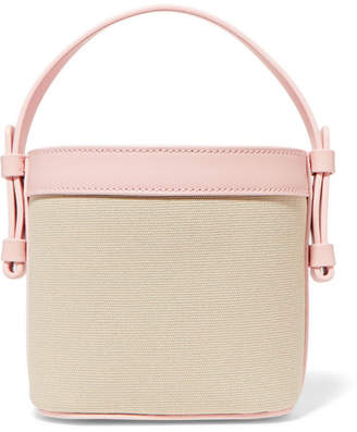 Nico Giani - Adenia Mini Leather-trimmed Cotton-canvas Bucket Bag - Beige