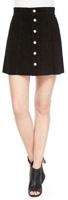 AG The Gove Pleated Suede Skirt, Super Black $748 thestylecure.com