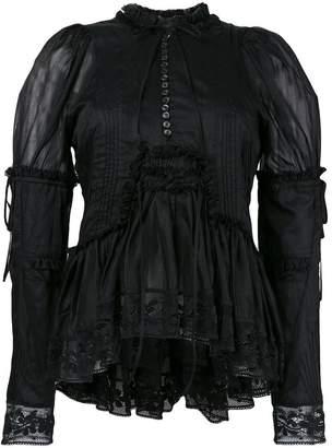 DSQUARED2 ruffle trim lace blouse