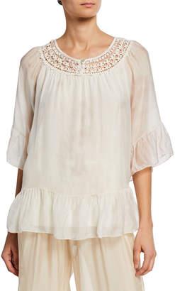 Moda Seta Tie-Dye Flutter-Sleeve Crochet Top