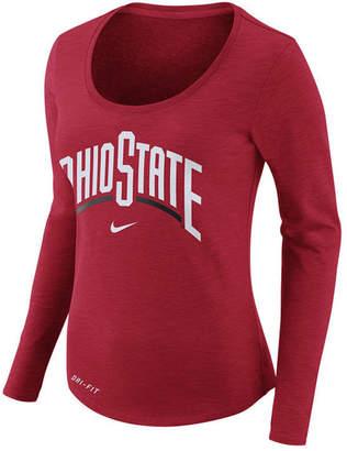 Nike Women's Ohio State Buckeyes Dri Fit Slub Long Sleeve T-Shirt