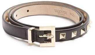 Valentino Rockstud Skinny Leather Belt - Womens - Black