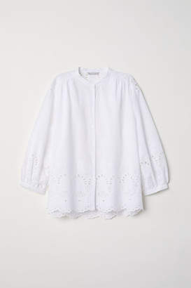 H&M Blouse with Eyelet Embroidery - White