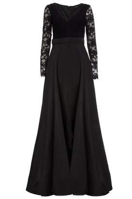 Quiz Black Lace Satin Long Sleeve Maxi Dress