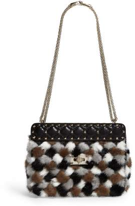 Valentino Medium Mink Fur Rockstud Spike Shoulder Bag