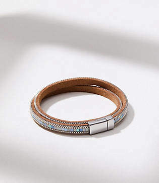 LOFT Beaded Chain Wrap Bracelet