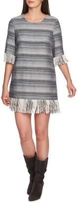 1 STATE 1.STATE Rustic Tweed Fringe Hem Dress