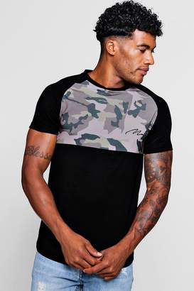boohoo Muscle Fit Camo Raglan T-Shirt With MAN Embroidery