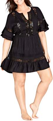 City Chic Evie Lace Trim Cover-Up Dress