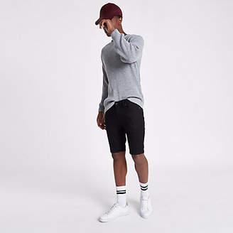 River Island Black Sid skinny denim shorts