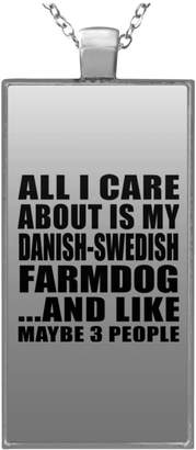 Designsify Dog Lover Necklace, All I Care About is My Danish-Swedish Farmdog and Like Maybe 3 People - Rectangle Necklace, Plated Pendant, Best Gift for Dog Owner, Pet Lover, Family, Friend