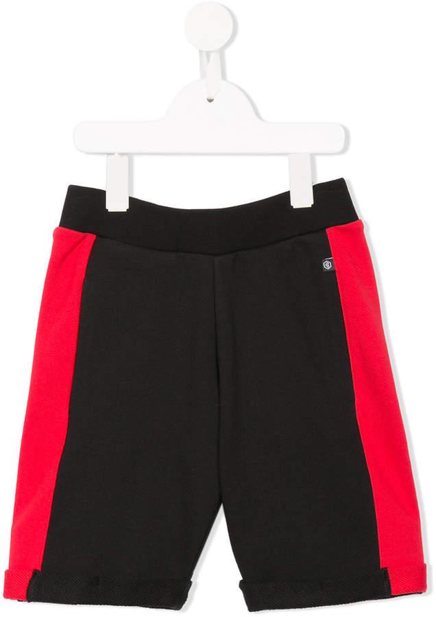 Philipp Plein Junior contrast panels track shorts