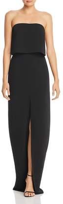 Amanda Uprichard Verona Strapless Front-Slit Gown