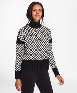 Brooks Brothers Geometric Jacquard Lambswool Turtleneck Sweater