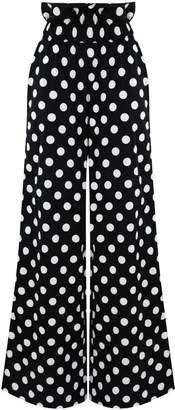 Zalinah White Tall Alyssa Polka Dot Smart Casual Paperbag Cotton Pants With Elasticated Waistline