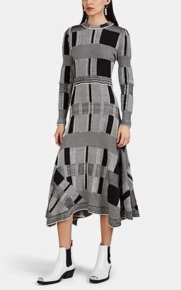 Proenza Schouler Women's Geometric-Colorblocked Mixed-Knit Sweaterdress - Black Pat.