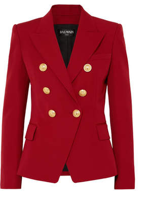 Balmain Double-breasted Grain De Poudre Wool Blazer - Red