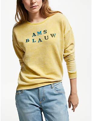 Maison Scotch AMS Blauw Burnout Sweatshirt, Cheddar