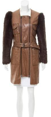 3.1 Phillip Lim Shearling-Trimmed Leather Coat
