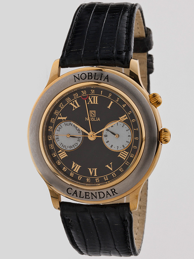 American Apparel Vintage Noblia by Citizen Black/Silver/Gold Chronograph Leather Band Watch