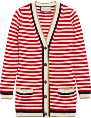 Striped Stretch Cotton-blend Cardigan - Red