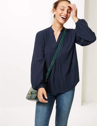 Marks and Spencer Crinkle Notch Neck Long Sleeve Blouse