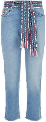 Mira Mikati Belted Frayed Hem Jeans