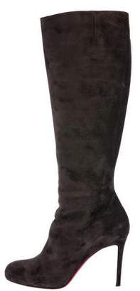 Christian Louboutin Suede Pointed-Toe Knee Boots