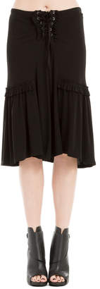 Max Studio matte jersey lace-front skirt