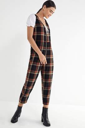 Urban Outfitters Reign Plaid Flannel Jumpsuit