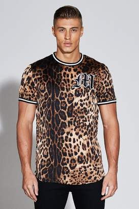 boohoo Premium Leopard Print Woven T-Shirt
