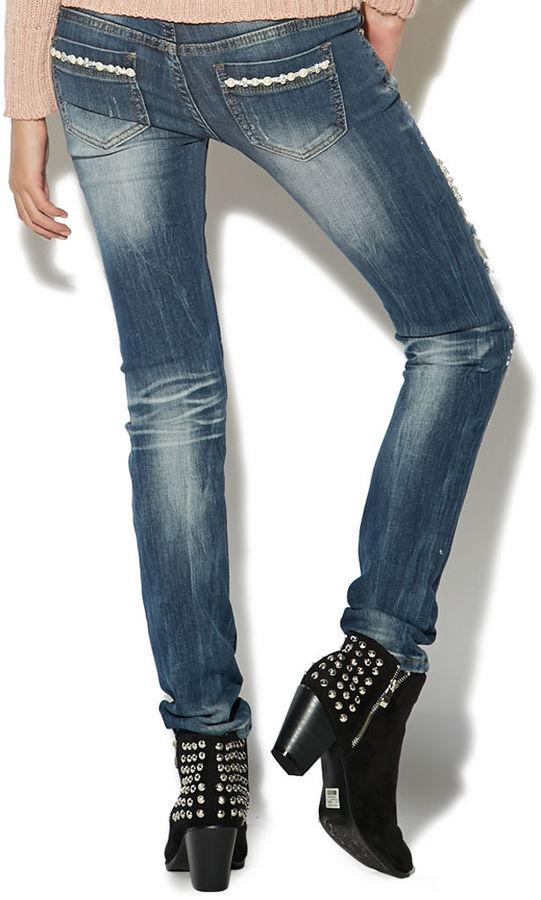 Wet Seal Pearl & Rhinestone Skinny Jean