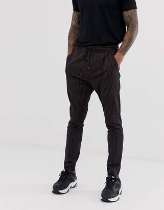 HUGO Zander pinstripe drawstring pants in black