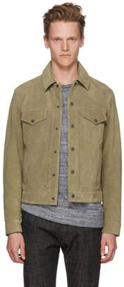 Rag & Bone Khaki Suede Trucker Jacket